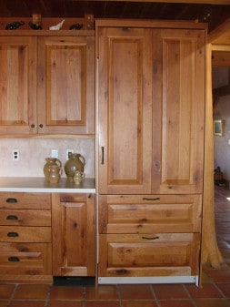 cabinets and matching refrigerator