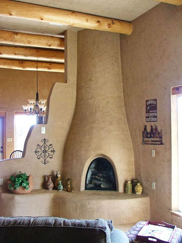 Kiva fireplace with Venetian plaster