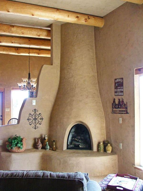 Kiva fireplace with Venetian plaster