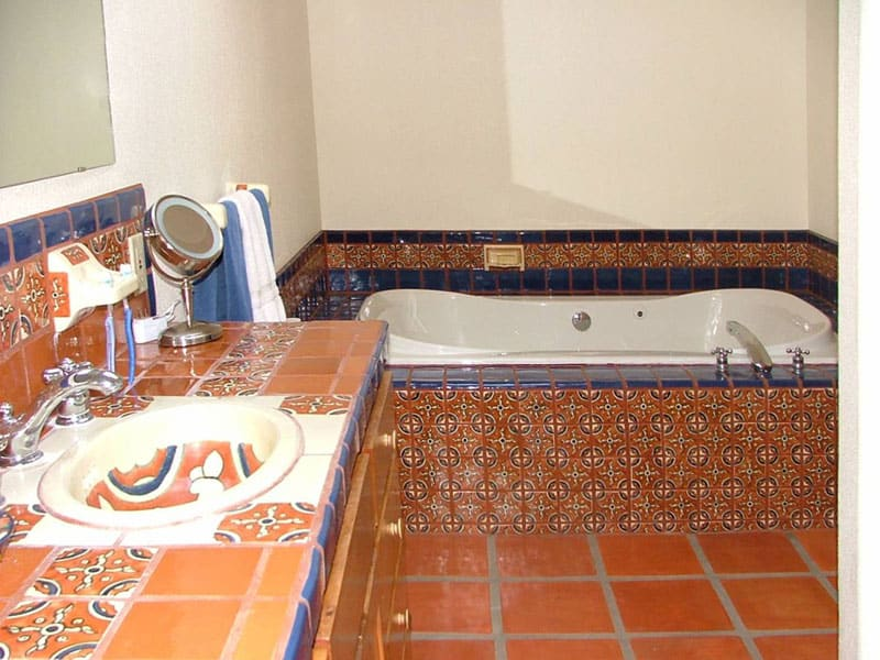 talavera tile bath and sink