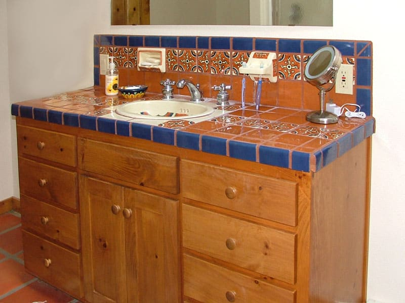 mexican talavera bathroom counter