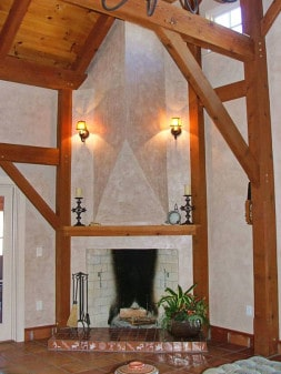 timber frame fireplace with Venetian plaster