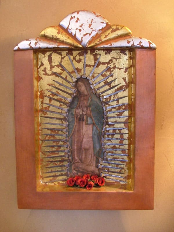 Virgin of Guadalupe Burnished Clay Retablo