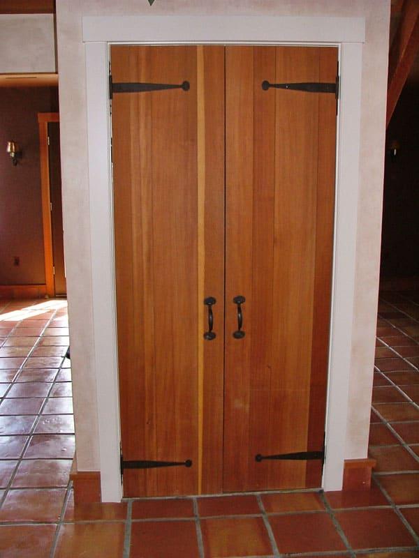 custom double doors to wet bar