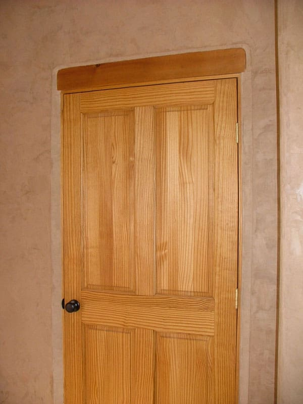 Venetian plaster and wooden door