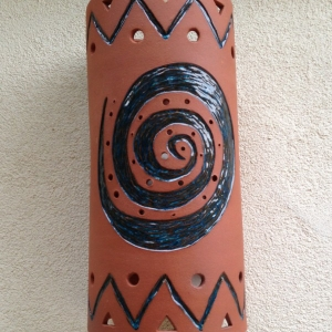 ceramic light carved with glaze inlay